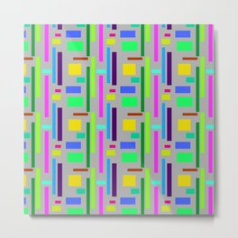 Unisex pattern with vibrant Colours in squares and rectangles. Metal Print