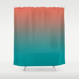 Pantone Living Coral & Viridian Green Gradient Ombre Blend Shower Curtain