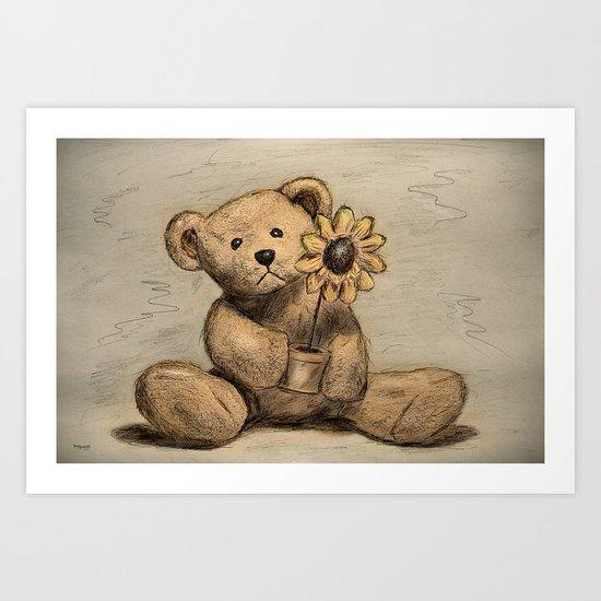 Teddybear with a sunflower Art Print