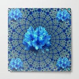 Sapphire Blue Optical Floral Art Metal Print