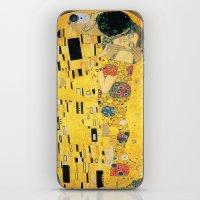 gustav klimt iPhone & iPod Skins featuring The Kiss - Gustav Klimt by BravuraMedia