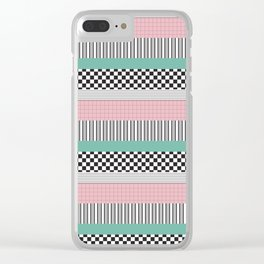 Pink and Teal Striped Pattern Clear iPhone Case