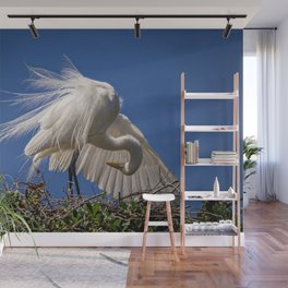 Great Egret Feathers Wall Mural
