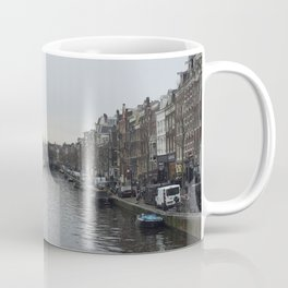 Amsterdam River on a rainy day ideal gift for netherland photography fans and traveling lovers  Coffee Mug