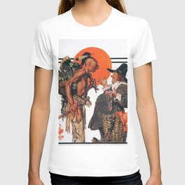 12,000pixel-500dpi - Joseph Christian Leyendecker - Thanksgiving, Indians To Negotiate With Pilgrim T-shirt