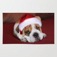 bulldog Area & Throw Rugs featuring Bulldog by Julie Hoddinott
