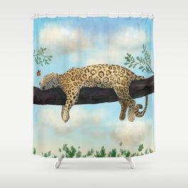 Sleepy Jaguar Hanging on a Branch Shower Curtain