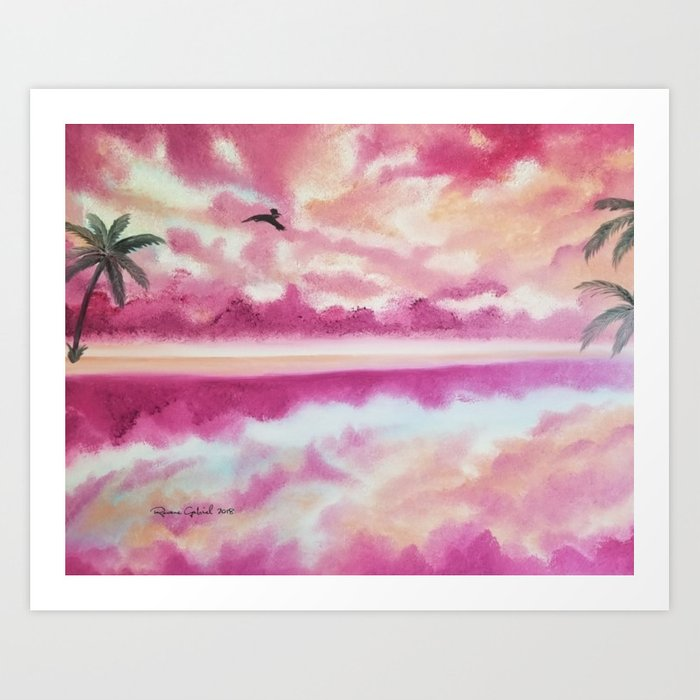 freedom 2 pink sunset beach pink sky clouds skyscape waterscape art print by roxanegabriel society6 freedom 2 pink sunset beach pink sky clouds skyscape waterscape art print by roxanegabriel