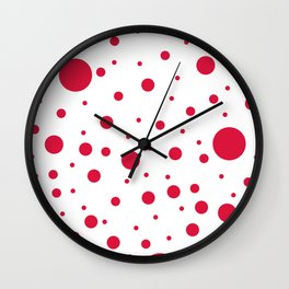 Mixed Polka Dots - Crimson Red on White Wall Clock