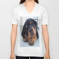 rottweiler V-neck T-shirts featuring Riley  🐾  The Rottweiler Puppy  🐾 by D.A.S.E. 3