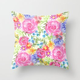 watercolor blooms Throw Pillow