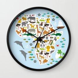 Animal Africa: parrot Hyena Rhinoceros Zebra Hippopotamus Crocodile Turtle Elephant Mamba snake Wall Clock