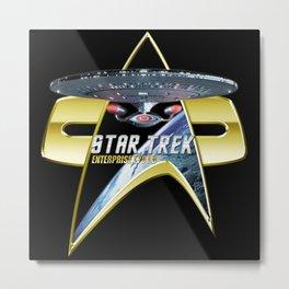 StarTrek Enterprise 1701 D Com badge 3 Metal Print
