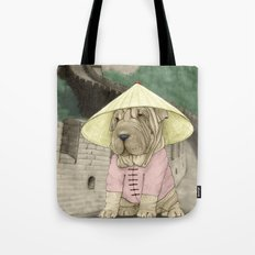 Shar Pei on the Great Wall (China) Tote Bag