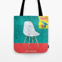 eames Tote Bags featuring Eames Chair  by Xchange Art Studio