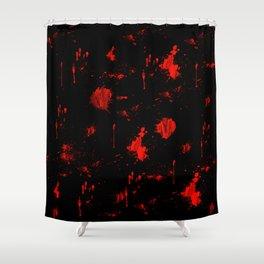 Red Paint / Blood splatter on black Shower Curtain