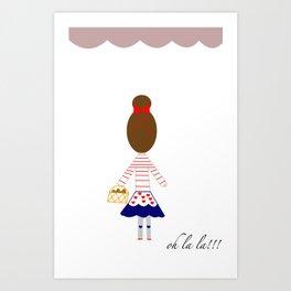 A girl in Paris Art Print