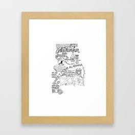 Alabama - Hand Lettered Map Framed Art Print