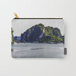 Small Floating Village at the Base of One of the Towering Limestone Mountains in Halong Bay, Vietnam Carry-All Pouch