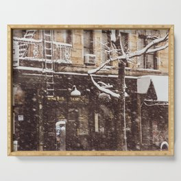 Avenue A in a snow storm.  East Village. New York. USA Serving Tray