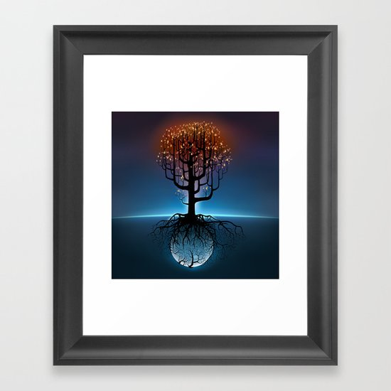 Tree, Candles, and the Moon Framed Art Print