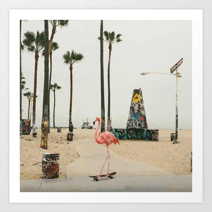 Venice Beach Flamingo Art Print