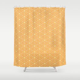 Burnt Orange Mustard Orange Butter Cream Yellow Hexagon Geometric Southwestern Design Pattern Shower Curtain