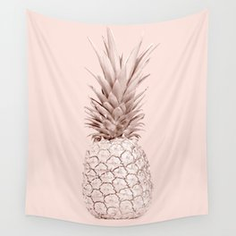 Rose Gold Pineapple on Blush Pink Wall Tapestry