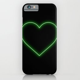 Neon Green Valentines Love Heart iPhone Case