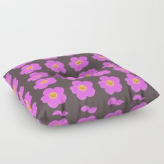 Tiny pink retro flowers on a dark grey background - #Society6 #buyart Floor Pillow