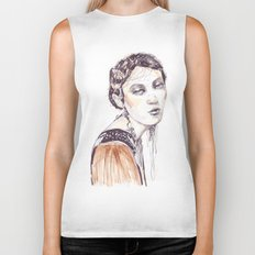 Fashion illustration with golden watercolors Biker Tank