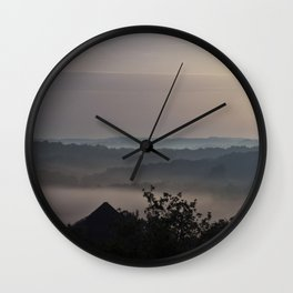 Foggy Summer Morning in France Wall Clock