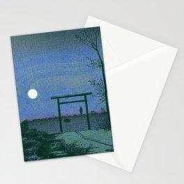 Before Tarō Inari Shrine at the Asakusa Ricefields by Kobayashi Kiyochika Stationery Cards