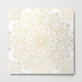The Golden Mandala Illustration Pattern Metal Print