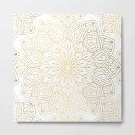 The Golden Mandala Illustration Pattern Metal Print
