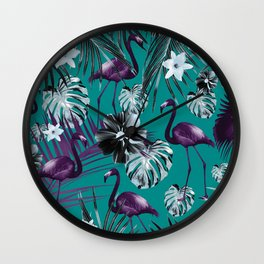 Tropical Flamingo Flower Jungle #6 #tropical #decor #art #society6 Wall Clock