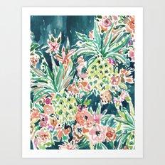 PINEAPPLE PARTY Lush Tropical Boho Floral Art Print