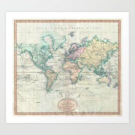 Vintage Map of The World (1801) Art Print