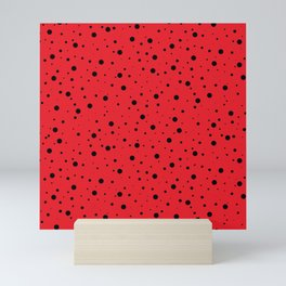 Ladybug Polka Dot Spots Pattern (red/black) Mini Art Print