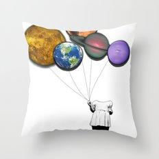 Planet balloon girl Throw Pillow