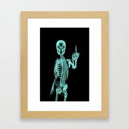 X-ray Bird / X-rayed skeleton demonstrating international hand gesture Framed Art Print