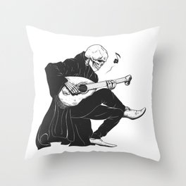 Minstrel playing guitar,grim reaper musician cartoon,gothic skull,medieval skeleton,death poet illus Throw Pillow