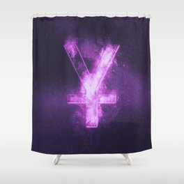 Japanese yen. Japan Yen. Monetary currency symbol. Abstract night sky background. Shower Curtain