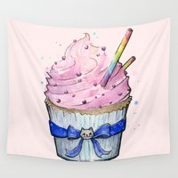 cupcake Wall Tapestries featuring Cupcake by Olechka