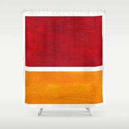 Burnt Red Yellow Ochre Mid Century Modern Abstract Minimalist Rothko Color Field Squares Shower Curtain
