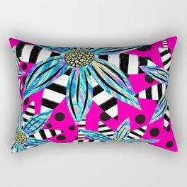 Pinwheel Flowers on Hot Pink Rectangular Pillow