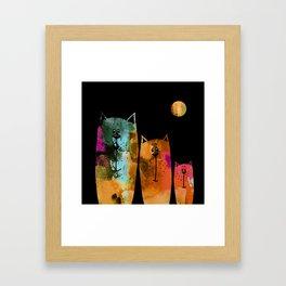 Cat Family at Night Framed Art Print