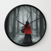 red hood Wall Clocks featuring Red Hood by Svenja Gosen