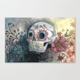 Sugar Skull with Flowers Canvas Print