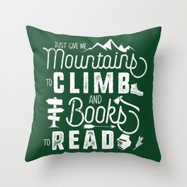 Moutnains & Books - Inverse Throw Pillow